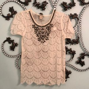 Lucky Brand Sheer Lace top with delicate beading